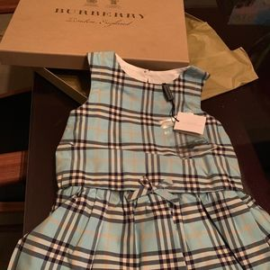 Burberry checked infant dress, aqua